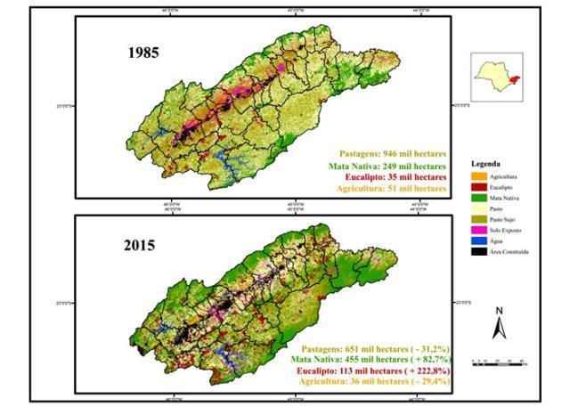 Mapeamentos mostram o crescimento das florestas no Vale do Paraíba
