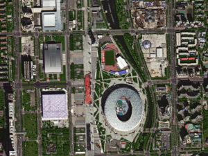 Imagem de satélite GF-2 do Estádio Nacional de Beijing (Ninho do Pássaro)