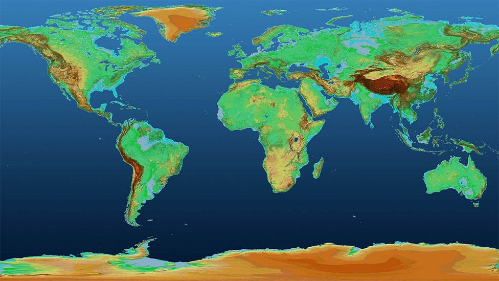 Agência espacial alemã (DLR) divulga novo mapa mundi em 3D